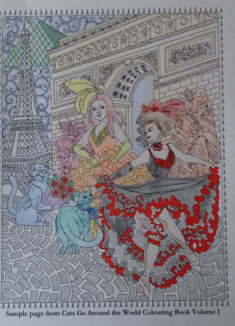 Cats Go Around the World colouring book - Paris